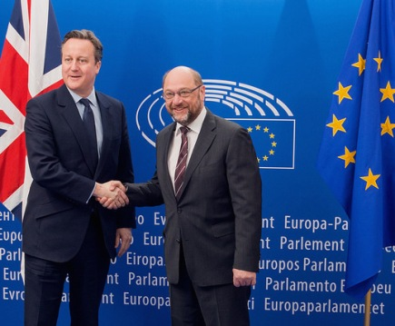 David Cameron with European Parliament President Martin Shulz