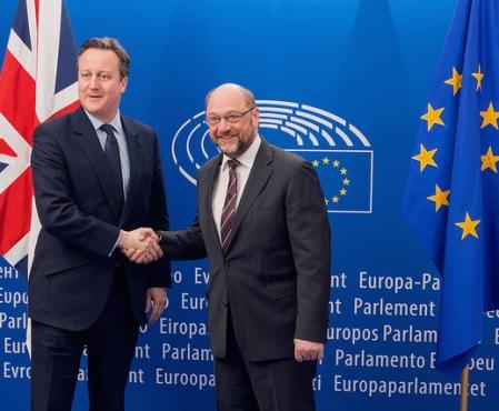 David Cameron with European Parliament President Martin Shulz